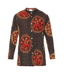 Gucci | Medallion-Print Collarless Cotton Shirt