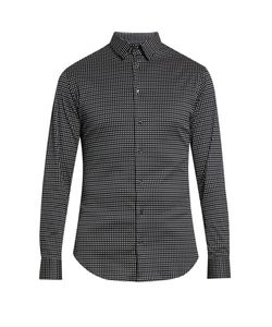 Giorgio Armani | Micro-Diamond Print Cotton-Jersey Shirt