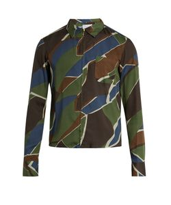 Kolor | Geometric-Print Zip-Though Poplin Shirt