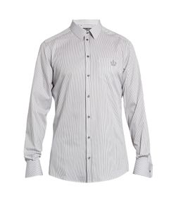 Dolce & Gabbana | -Fit Crown-Embroidered Cotton Shirt