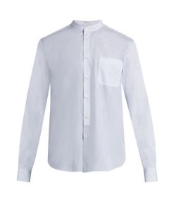 HELBERS | Band-Collar Checked And Striped Cotton Shirt
