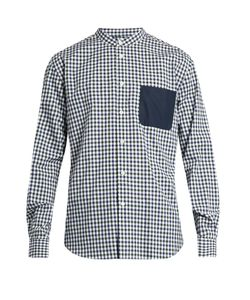 HELBERS | Band-Collar Checked Cotton Shirt