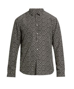 John Varvatos | Swirl-Print Sandwashed-Silk Shirt