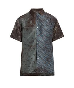 Lanvin | Contrasting-Print Short-Sleeved Silk Shirt