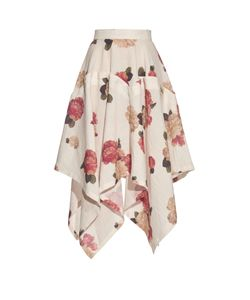 A.W.A.K.E. | Flora-Print Handkerchief-Hem Skirt