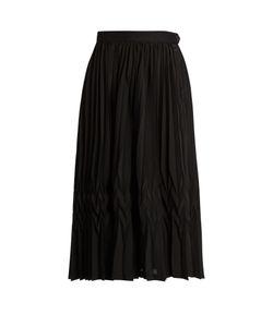 Y'S BY YOHJI YAMAMOTO   Pleated Crepe De Chine Midi Skirt