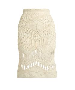 TABULA RASA | Tuva Hand-Macramé Silk And Wool-Blend Skirt