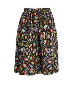Duro Olowu | Abstract Bird-Print Cloqué Skirt
