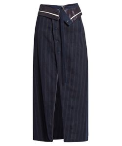 SIES MARJAN | Pinstriped Midi Wrap Skirt