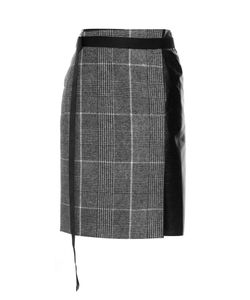Calvin Klein Collection | Leather-Panel Checked Wool Skirt