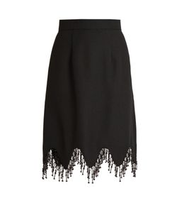 House Of Holland | Beaded Tassel-Trim Crepe Skirt