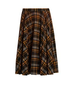 Maison Margiela | Pleated Tartan Wool Skirt