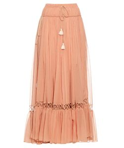 Chloe | Silk-Crepon Drawstring Maxi Skirt