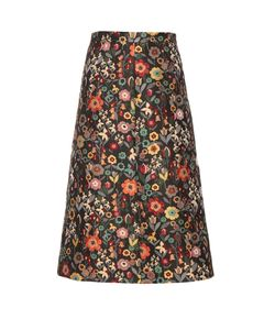 Red Valentino | Fancy Flower-Jacquard A-Line Midi Skirt