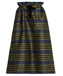 Isa Arfen | Drawstring-Waist Striped Taffeta Skirt