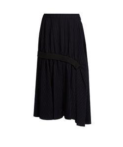 Y'S BY YOHJI YAMAMOTO   Pinstriped Gathered Wool Midi Skirt