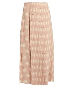 Stella Mccartney | Swan-Print Pleated Silk Midi Skirt