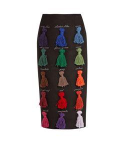 Stella Jean | Sapere Tassel-Appliqué Wool-Blend Skirt