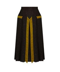Marco De Vincenzo | Velvet-Panelled Silk-Blend Cloqué Skirt