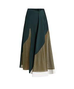 ESTEBAN CORTAZAR | Lamé-Panelled Silk-Crepe Skirt