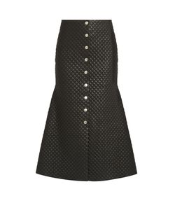 A.W.A.K.E. | Quilted Faux-Leather Flared Skirt