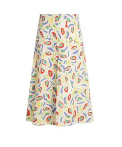 Duro Olowu | Abstract Bird-Print Cloqué Midi Skirt