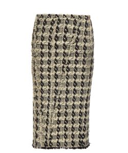 Rochas | Tweed-Checked Pencil Skirt