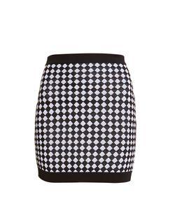 Balmain   Diamond-Knit Mini Skirt