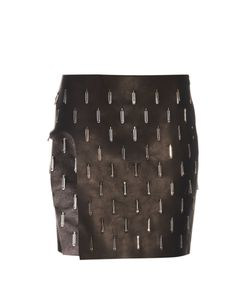 Anthony Vaccarello | Open-Leg Embellished Leather Skirt