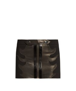Anthony Vaccarello | Leather-Flame Wool Mini Skirt