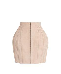 Balmain   Structured Suede Mini Skirt