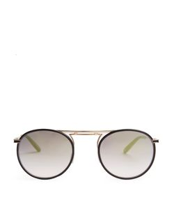 GARRETT LEIGHT | Cordova Leather Round-Frame Sunglasses