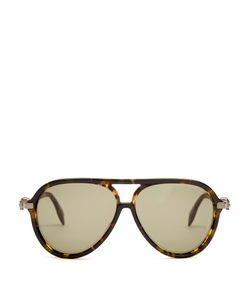 Alexander McQueen | Oversized Skull-Hinged Aviator Sunglasses