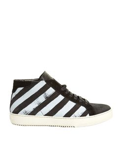 OFF-WHITE | Striped High-Top Nubuck-Leather Trainers