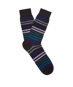 PANTHERELLA | Kilburn Striped Fine-Knit Socks