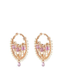 MARIA TASH | Diamond Sapphire Pearl Roseearrings