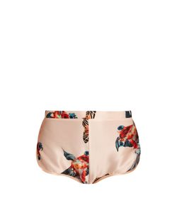 KATIE EARY | Fish-Print Silk-Satin Briefs