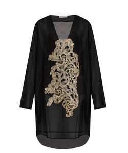 Lila Eugenie | 1711 V-Neck Embroidered Voile Kaftan