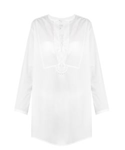 Lila Eugenie | 1708 Lace-Insert Cotton-Blend Shirt