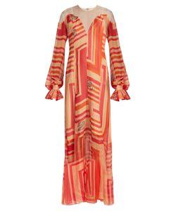 KATIE EARY | Geo-Print Silk-Chiffon Maxi Dress