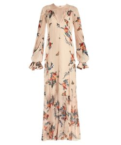 KATIE EARY | Fish-Print Silk-Chiffon Maxi Dress
