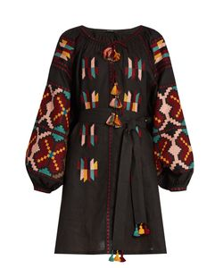 Vita Kin | Geometric Embroidered Linen Dress