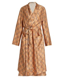 KATIE EARY | Snake-Print Silk-Satin Dressing Gown