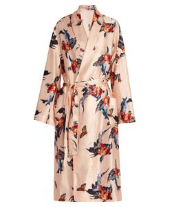 KATIE EARY | Fish-Print Silk-Satin Dressing Gown