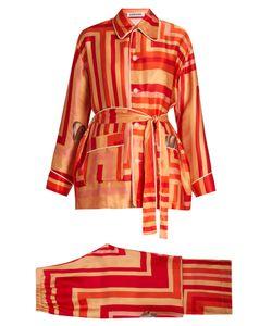 KATIE EARY | Geo-Print Silk-Satin Pyjama Set