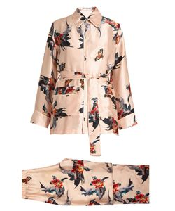 KATIE EARY | Fish-Print Silk-Satin Pyjama Set