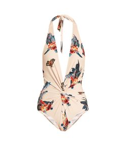 KATIE EARY | Fish-Print Twist-Front Swimsuit