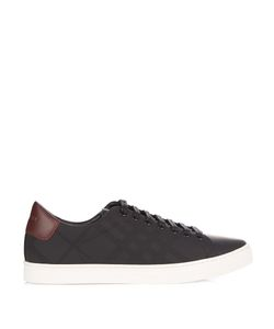 Burberry | Albert Perforated-Check Low-Top Leather Trainers