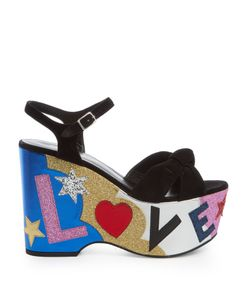 Saint Laurent | Candy Love-Appliqué Suede Platform Sandals