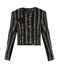 Alexander Wang | Leather-Trimmed Striped Tweed Cropped Jacket